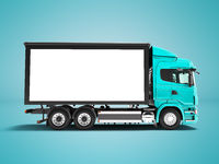 Modern red truck with white trailer for transportation of goods from the side 3d render on blue background with shadow
