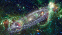 Green cosmic background. Elements of this image furnished by NASA