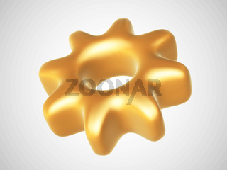 3D golden mechanical gear isolated on white background.