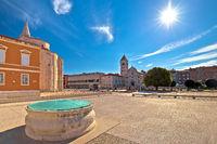 Zadar. Historic Forum square in Zadar landmarks view