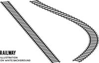 Railroad set top view. Vector illustration on white