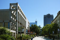 RALEIGH,NC/USA - 10-03-2017: View of downtown Raleigh looking down Bicentennial plaza with the NC history museum on the left and the State Capiltol building in the distance