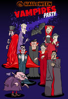 Halloween holiday cartoon poster or invitation design with vampires