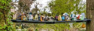 Row of colorfull bird houses