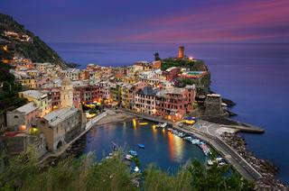 Vernazza city at night in Cinque Terre, Italy