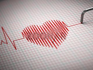 ECG. Electrocardiogram and heart  beat shape.