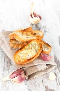Garlic bread background.