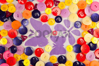 Painted Butterflies in a meadow of buttons