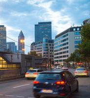 Traffic road Downtown Frankfurt Germany