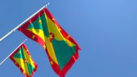 3D rendering of the national flag of Grenada waving in the wind