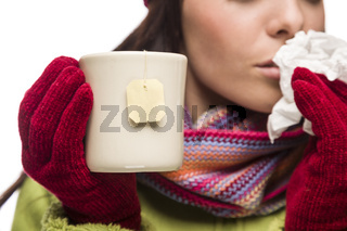 Young Sick Woman Holding Cup with Blank Tea Bag Hanging