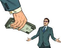 Businessman and money. Financial bonus. Lottery or winnings