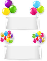 White Paper Banner With Color Balloon Set Transparent Background