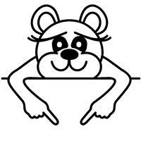 Lustiger Bär - zeigt auf Schild
