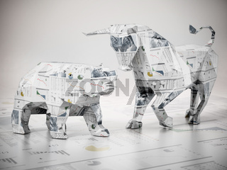 Low poly bull and bear standing on finance newspaper page. 3D illustration