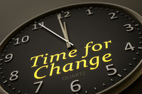 time for change modern black clock style