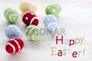 Many Colorful Easter Eggs With English Text Happy Easter