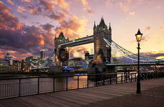 Tower Bridge at sunset in London