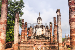 Buddha statue in wat mahathat, sukhothai province, thailand