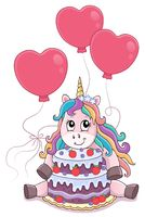 Unicorn with cake and balloons theme 4