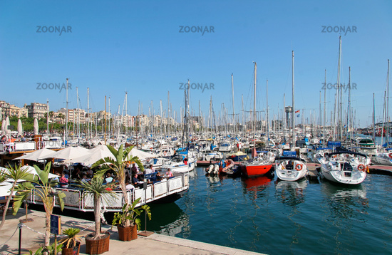 Assortment of Boats and Yachts Moored at the Marina in Barcelona