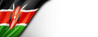 Kenyan flag isolated on white banner