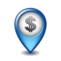 Dollar symbol with two vertical lines on Mapping Marker vector icon.