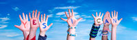 Children Hands Building Word Yes I Can, Blue Sky
