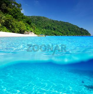 Beach with white sand bottom underwater view
