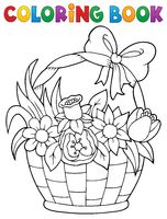 Coloring book flower basket theme 1
