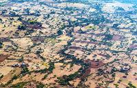 Hochebene mit Streusdiedlungen im  Hochland von Abessinien, Tigray, Äthiopien