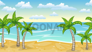 Seamless natur beach landscape with palm trees