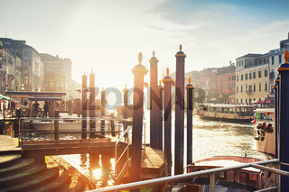 Panoramic view in the morning with backlighting of Canal Grande in Venice