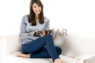 Woman working with a tablet