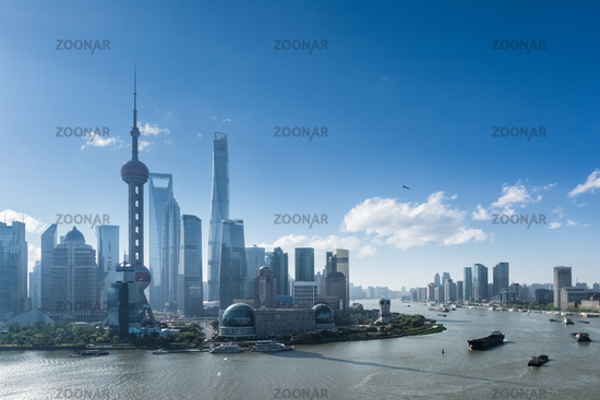beautiful cityscape of shanghai in sunny morning
