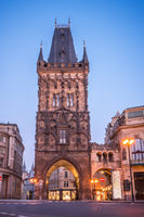 PRAGUE, CZECH REPUBLIC, APRIL 2020 - The Powder Tower in the morning - medieval gothic city gate in Prague, Czech Republic