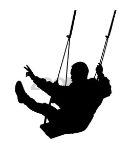 Man Swinging Isolated Graphic Silhouette