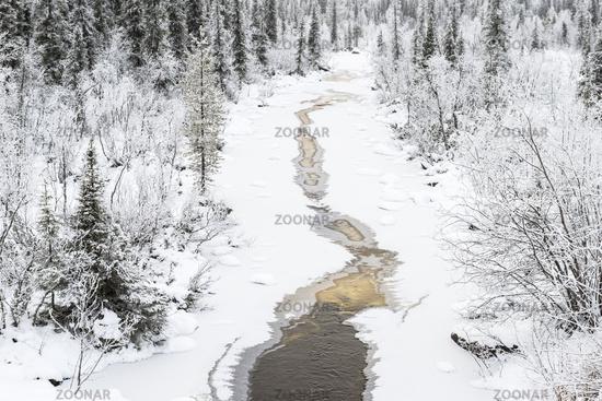 gefrierender Bach, Muddus Nationalpark, Welterbe Laponia, Lappland
