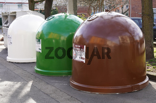 Glass collection containers or bottle banks in Hannover Germany