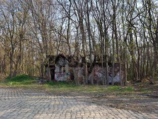 Ein verfallenes Gebäude auf einem ehemaligen Güterbahnhof, von Bäumen umwachsen