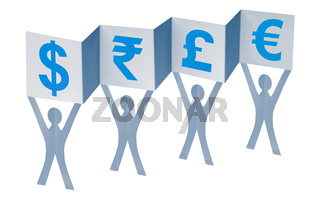 Paper Men with flag writing different currency signs