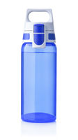 Front view of blue sport plastic water bottle