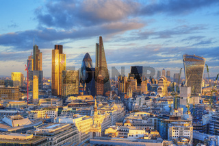 Elevated view of the Financial District of London in the afternoon