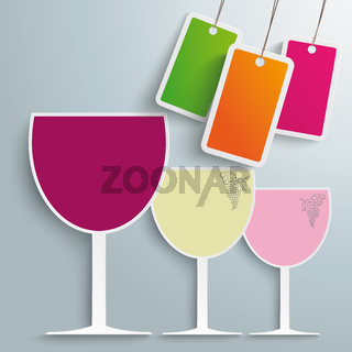 3 Colored Wineglasses Price Sticker PiAd