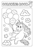 Coloring book unicorn with balloons 1