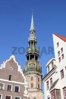 Turm der Petrikirche in Riga, Hauptstadt von Lettland
