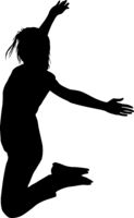 Silhouette young girl jumping with hands up, motion