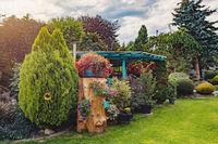 pergola with flowers in summer garden