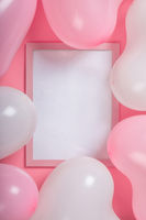 Valentine day balloons and frame