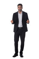 Portrait of business man holding something